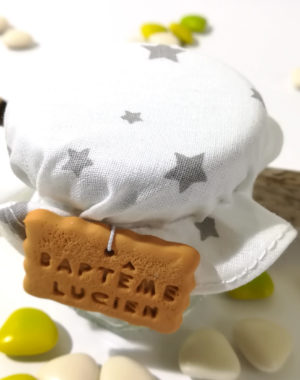 "Petit pot de dragées gourmand, ""tissu garçon"""
