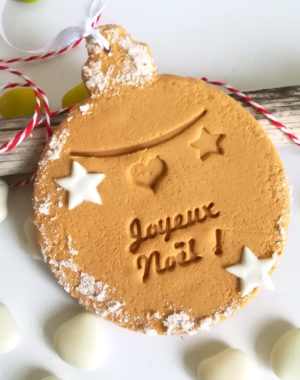 biscuit boule de noel, suspension sapin prénom