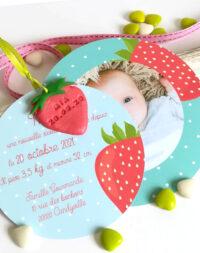"""Faire-part de naissance """"fraise"""""""