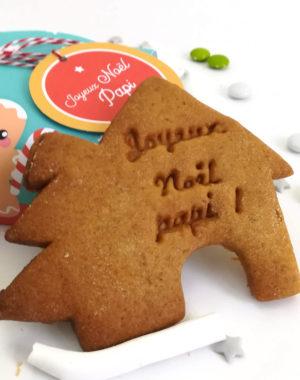 COFFRET CADEAU, de 4 biscuits de Noël personnalisés (parfums au choix)