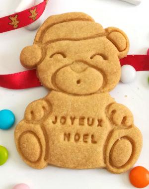"""x10 Biscuits sablés """"ourson de Noël"""" personnalisés (4 parfums au choix)"""