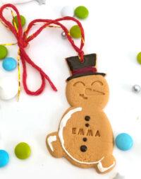 Bonhomme de neige, décoration de Noël avec prénom