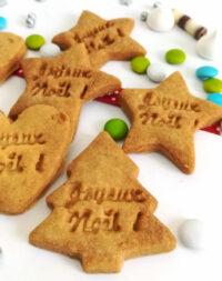 """x25 mini-Biscuits """"Joyeux Noël"""" – coeur, sapin, étoile (4 parfums au choix)"""