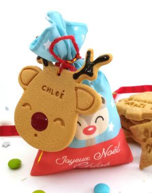Sachet en tissu personnalisé et ses mini-biscuits de Noël (parfums au choix)