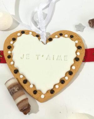"""Coeur de Noël blanc """"Je t'aime"""""""