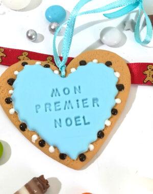 """Coeur de Noël bleu """"Mon premier Noël"""""""