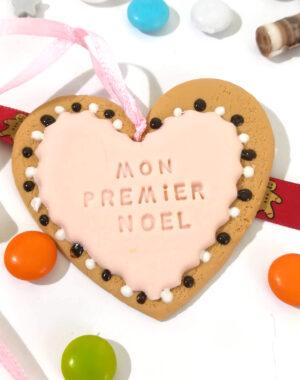 """Coeur de Noël rose poudré """"Mon premier Noël"""""""
