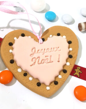 """Coeur de Noël rose poudré """"Joyeux Noël"""""""
