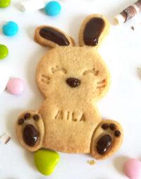 """X6 sablés personnalisés """"Lapin de Pâques"""" au chocolat"""
