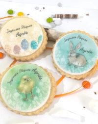 """X6 Biscuits personnalisés """"lapin + poussin + oeufs de Pâques"""""""