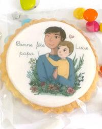 """Biscuits décorés """"bonne fête papa"""" (illustration petit garçon)"""