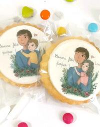 """Biscuits décorés """"bonne fête papa"""" (illustration fille et garçon)"""