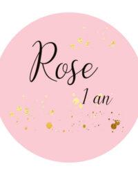 """Biscuit personnalisé """"Rond sur fond rose"""""""